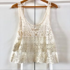 Urban Outfitters Cream Lace Tank Size M/L